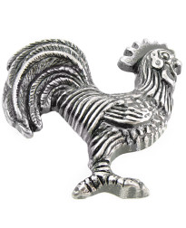"2 1/4"" Rooster - Left Cabinet/Right Facing - Antique Silver"