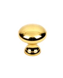 Elegance Solid Brass Knob, Polished Brass, 1 inch dia