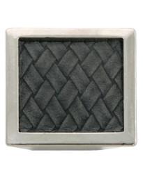 1 5/8-Inch Churchill Square Knob- Polished Nickel/Black Leather Insert