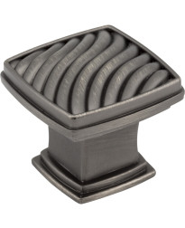 "Encada 1 3/16"" Diameter Waved Square Knob in Brushed Pewter"