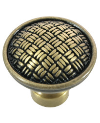 Rattan Knob 1 1/4-Inch in Satin Antique Brass