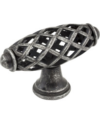 "Tuscany 2 5/16"" Bird Cage Knob in Distressed Antique Silver"
