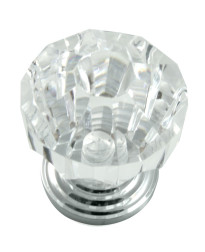 Acrystal Knob 1 1/4-Inch inw/ Polished Chrome Base