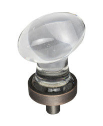 """Harlow 1-1/4"""" Glass Football Cabinet Knob in Brushed Oil Rubbed Bronze"""
