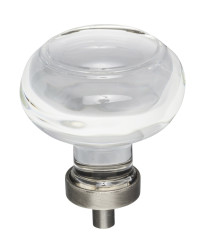 """Harlow 1-3/4"""" Diameter Glass Cabinet Knob in Brushed Pewter"""