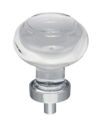 """Harlow 1-7/16"""" Diameter Glass Cabinet Knob in Polished Chrome"""