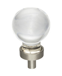 "Harlow 1-1/16"" Diameter Glass Cabinet Knob in Satin Nickel"