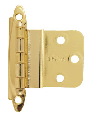 3/8in (10 mm) Inset Non Self-Closing, Face Mount Polished Brass Hinge - 2 Pack