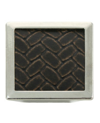 1 5/8-Inch Churchill Square Knob- Polished Nickel/Brown Leather Insert