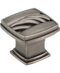 "Encada 1 3/16"" Diameter Cable Square Knob in Brushed Pewter"