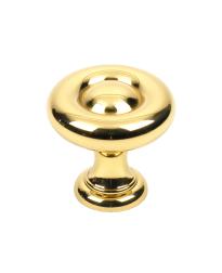 Maryland Solid Brass Knob, Polished Brass, 1 3/16 inch dia
