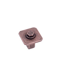 """Raw Authentic 11/16"""" (27mm) Square Knob, Aged Matte Red Copper"""