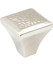 """Solana 1 1/4"""" Hammered Texture Knob in Polished Nickel"""
