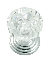 Acrystal Knob 1-Inch in Acrylic w/ Polished Chrome Base