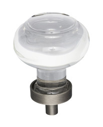 """Harlow 1-7/16"""" Diameter Glass Cabinet Knob in Brushed Pewter"""