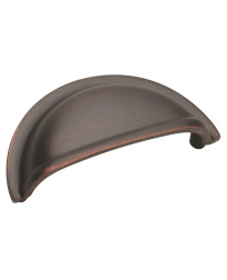 Solid Brass Cup Pulls 3 in (76 mm) Center-to-Center Oil-Rubbed Bronze Cabinet Cup Pull