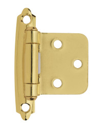 Variable Overlay Self-Closing, Face Mount Polished Brass Hinge - 2 Pack